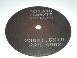Disco de corte para metalografia - 230mmX1,5mmX19mm-TCM4 (acima de 50HRC)